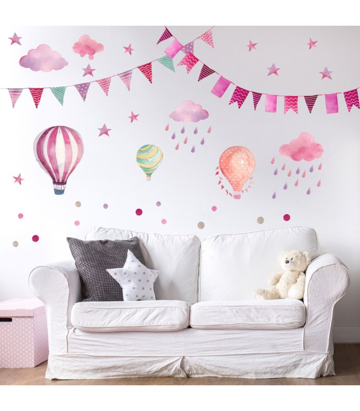 015 wandtattoo girlande wimpelkette ballon wolke regen sterne rosa pink lila - Wandtattoo ballon ...