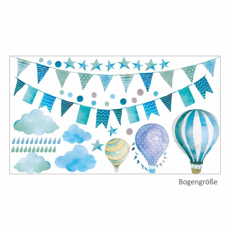 016 Wandtattoo Girlande Wimpelkette Ballon Wolke Regen Sterne mint blau grün