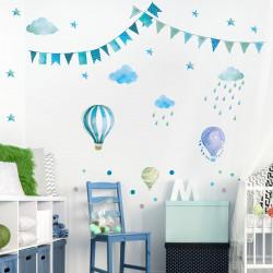 Wandtattoo Girlande Wimpelkette Ballon Wolke Regen Sterne mint blau grün