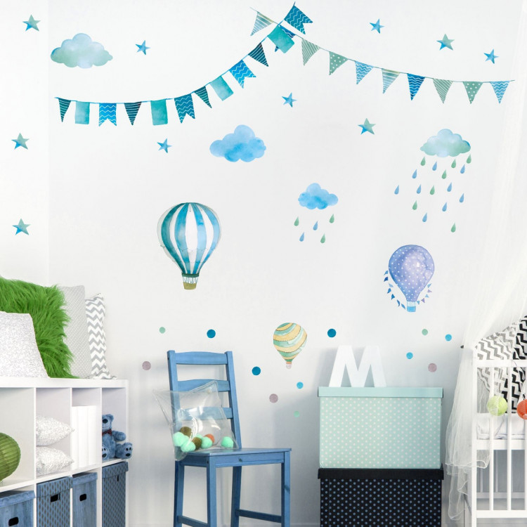 016 wandtattoo girlande wimpelkette ballon wolke regen sterne mint blau gr n. Black Bedroom Furniture Sets. Home Design Ideas