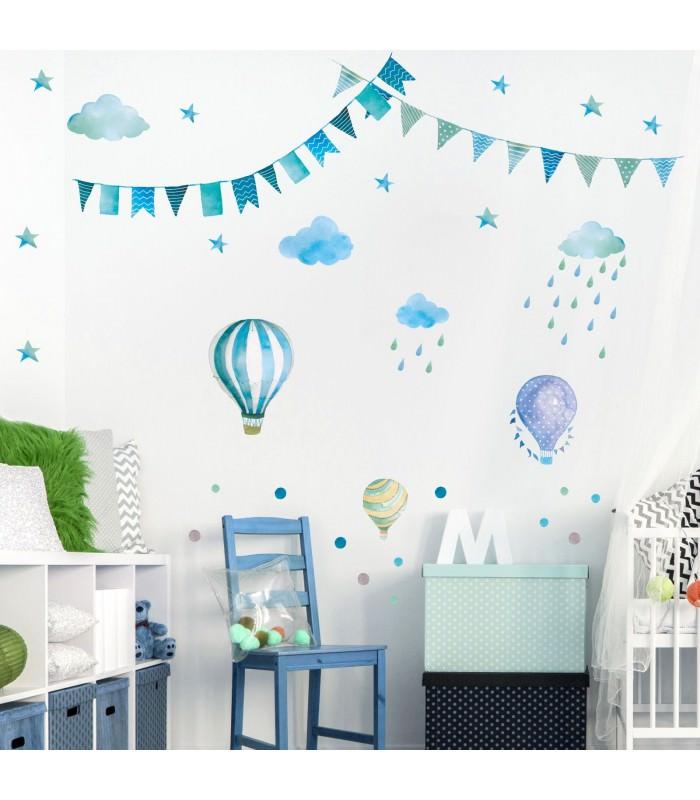 016 wandtattoo girlande wimpelkette ballon wolke regen sterne mint blau gr n - Wandtattoo ballon ...