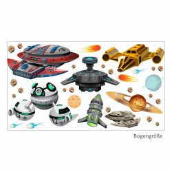 022 Wandtattoo Raumschiffe UFO Space Shuttle Planet Weltall Meteorit