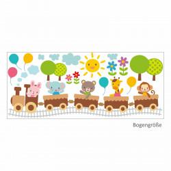 Wandtattoo Zug mit Tieren Hase Bär Elefant Giraffe Affe Ballons