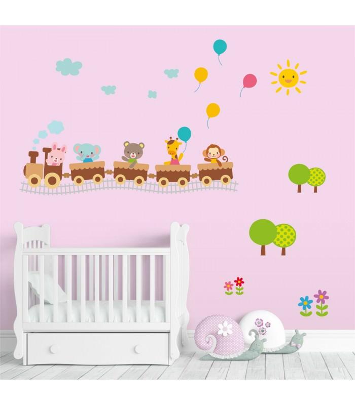 019 Wandtattoo Zug Mit Tieren Hase Bar Elefant Giraffe Affe Ballons
