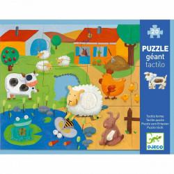 DJECO Bodenpuzzle: Fühlpuzzle- Bauernhof 12 Teile
