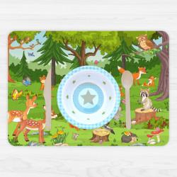 stabiles Vinyl Tischset Waldtiere Kinder Platzset abwaschbar