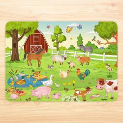 stabiles Vinyl Tischset Bauernhof Kinder Platzset abwaschbar