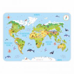 stabiles Vinyl Tischset Kinder Platzset - Weltkarte