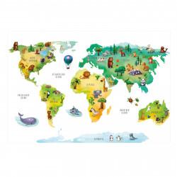 202 Wandtattoo Weltkarte mit Tieren  - Kinderzimmer Wanddeko