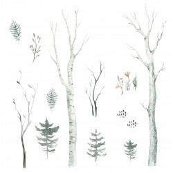 204 Wandtattoo Wald Aquarell - Birkenstämme Tannen Zweige