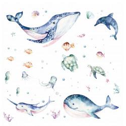205 Wandtattoo Meerestiere Aquarell - Wal Delfin Schildkröten