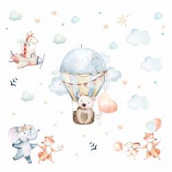 208 Wandtattoo Ballon Aquarell Tiere Wolken Fuchs mit Ballon