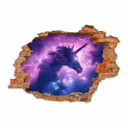 212 Wandtattoo Einhorn - Loch in der Wand - Lila Fabelwesen