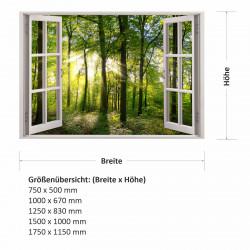 213 Wandtattoo Fenster - grüner Wald Forst mit Bäumen