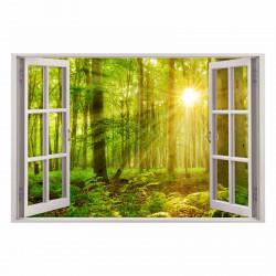 216 Wandtattoo Fenster - grüner Wald 2 Sonnenstrahlen