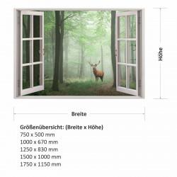 217 Wandtattoo Fenster - Wald Hirsch im Nebel