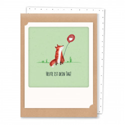Pickmotion Kleine Postkarte Heute ist Dein Tag Fuchs