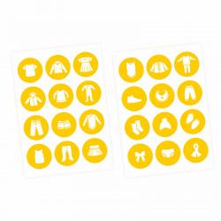 Möbelaufkleber Ordnungssticker für Kleidung WEISS/ GELB