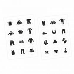 Möbelaufkleber Ordnungssticker für Kleidung schwarz/ weiß