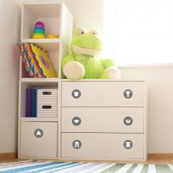Möbelaufkleber Ordnungssticker für Kleidung weiß/ grau