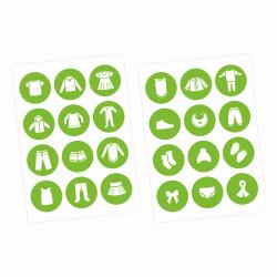 Möbelaufkleber Ordnungssticker für Kleidung weiß/ grün