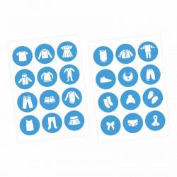 Möbelaufkleber Ordnungssticker für Kleidung weiß/ blau