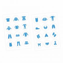 Möbelaufkleber Ordnungssticker für Kleidung blau/ weiß