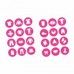 Möbelaufkleber Ordnungssticker für Kleidung weiß/ pink
