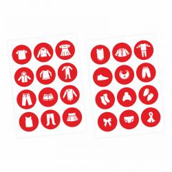 Möbelaufkleber Ordnungssticker für Kleidung weiß/ rot