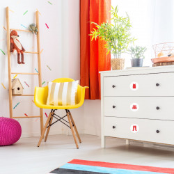 Möbelaufkleber Ordnungssticker für Kleidung rot/ weiß
