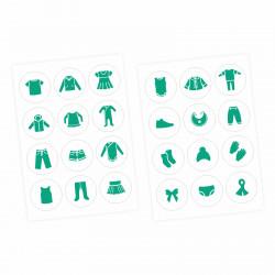 Möbelaufkleber Ordnungssticker für Kleidung mint/ weiß