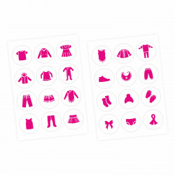 Möbelaufkleber Ordnungssticker für Kleidung pink/ weiß