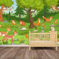 Fototapete Waldtiere Vliestapete Kinderzimmer Tapete inkl. Kleister