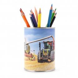 Stiftebecher Mähdrescher mit Traktor inkl. 12 Dreikant Buntstiften Kinder Stifteköcher Stiftehalter Schreibtisch Organizer Junge