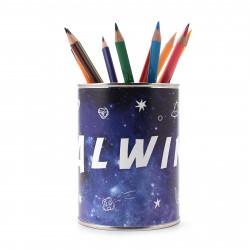 personalisierter Stiftebecher Weltall mit Namen Stifteköcher Stiftehalter