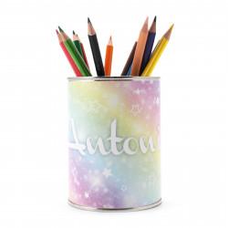 personalisierter Stiftebecher Regenbogen mit Namen - OHNE STIFTE - Stifteköcher Stiftehalter