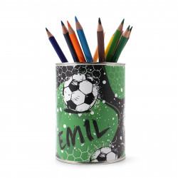 personalisierter Stiftebecher Fussball mit Namen - OHNE STIFTE - Stifteköcher Stiftehalter