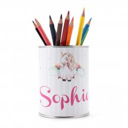 personalisierter Stiftebecher Einhorn mit Namen - OHNE STIFTE - Stifteköcher Stiftehalter