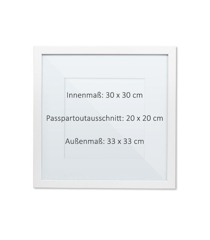 Bilderrahmen Passepartout Holz weiß 30 x 30 cm