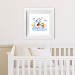 001 Kinderzimmer Bild Bär trinkt Tee Poster Plakat quadratisch 20 x 20 cm (ohne Rahmen)