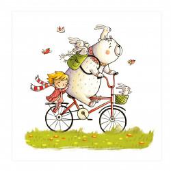 002 Kinderzimmer Bild Bär auf Fahrrad Poster Plakat quadratisch 20 x 20 cm (ohne Rahmen)
