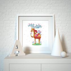 003 Kinderzimmer Bild Hirsch Reh Poster Plakat quadratisch 20 x 20 cm (ohne Rahmen)