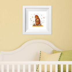 004 Kinderzimmer Bild Bär Herbst Poster Plakat quadratisch 20 x 20 cm (ohne Rahmen)