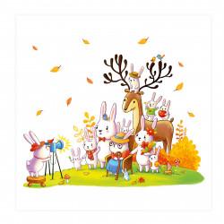 005 Kinderzimmer Bild Tiere Foto Poster Plakat quadratisch 20 x 20 cm (ohne Rahmen)