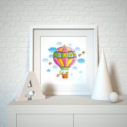 006 Kinderzimmer Bild Heißluftballon Poster Plakat quadratisch 20 x 20 cm (ohne Rahmen)