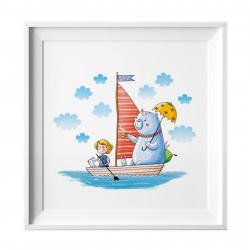 007 Kinderzimmer Bild Segelboot Poster Plakat quadratisch 20 x 20 cm (ohne Rahmen)