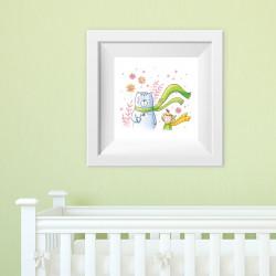 008 Kinderzimmer Bild Bär Schal Poster Plakat quadratisch 20 x 20 cm (ohne Rahmen)