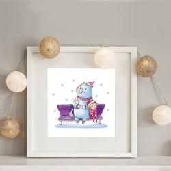 009 Kinderzimmer Bild Bär Winter Poster Plakat quadratisch 20 x 20 cm (ohne Rahmen)