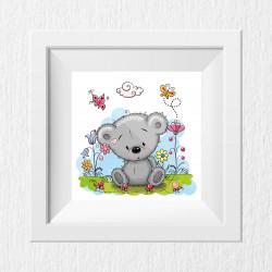 011 Kinderzimmer Bild Teddy Wiese Poster Plakat quadratisch 20 x 20 cm (ohne Rahmen)