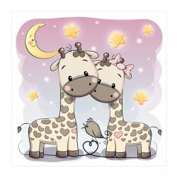 012 Kinderzimmer Bild Giraffen Poster Plakat quadratisch 20 x 20 cm (ohne Rahmen)